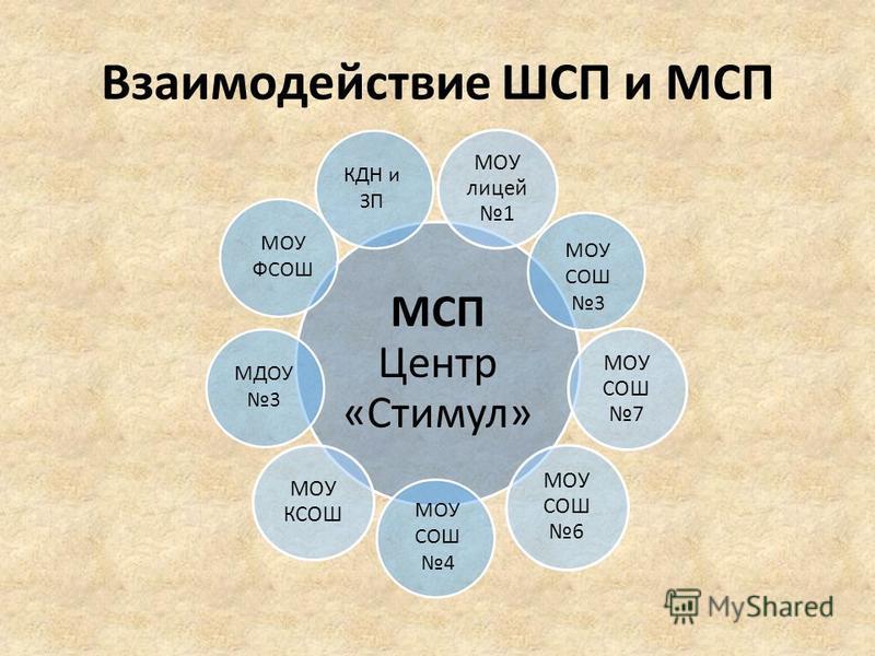 Взаимодействие ШСП и МСП МСП Центр «Стимул» МОУ лицей 1 МОУ СОШ 7 МОУ СОШ 6 МОУ КСОШ МОУ СОШ 3 МОУ СОШ 4 МОУ ФСОШ МДОУ 3 КДН и ЗП