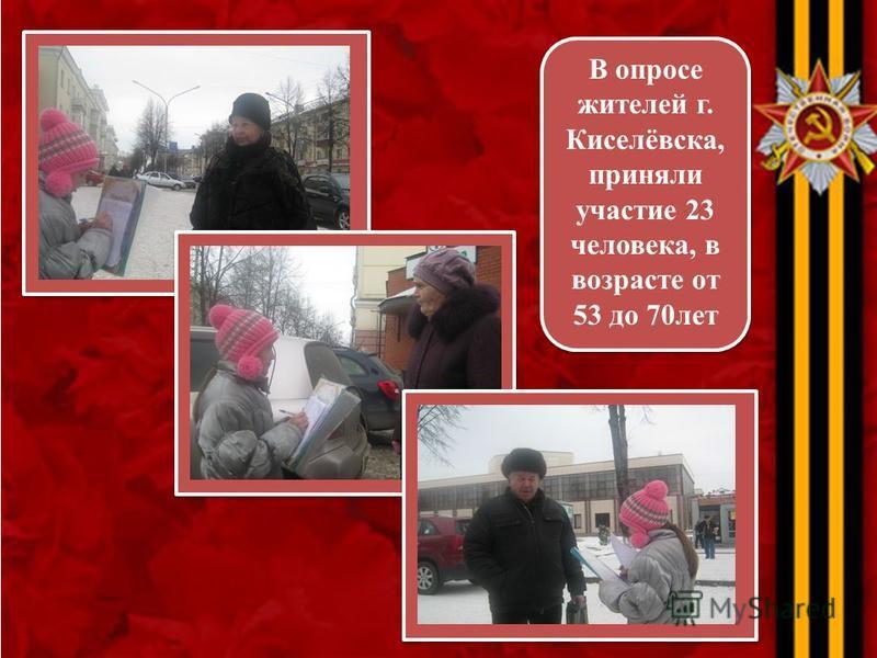 В опросе жителей г. Киселёвска, приняли участие 23 человека, в возрасте от 53 до 70 лет