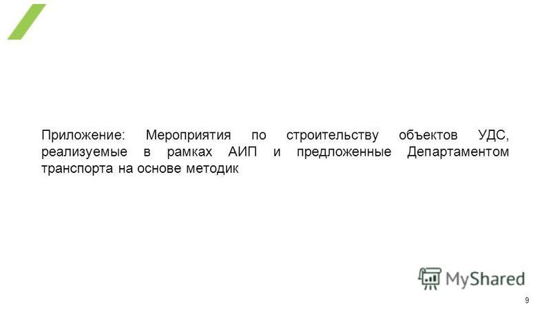 9 Приложение: Мероприятия по строительству объектов УДС, реализуемые в рамках АИП и предложенные Департаментом транспорта на основе методик