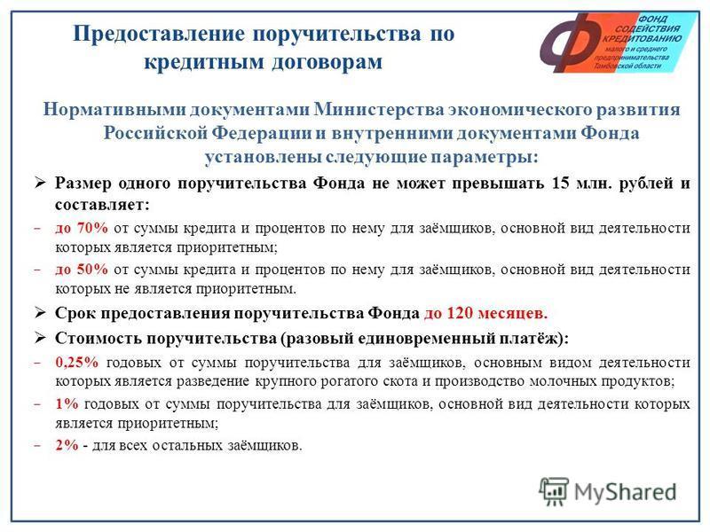 Предоставление поручительства по кредитным договорам Нормативными документами Министерства экономического развития Российской Федерации и внутренними документами Фонда установлены следующие параметры: Размер одного поручительства Фонда не может превы
