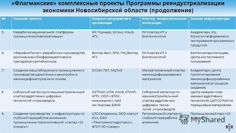 «Флагманские» комплексные проекты Программы реиндустриализации экономики Новосибирской области (продолжение) Название проекта Якорные предприятия и организации Кластер, межрегиональная кооперация Базовая инфраструктура 5. Разработка национальной плат