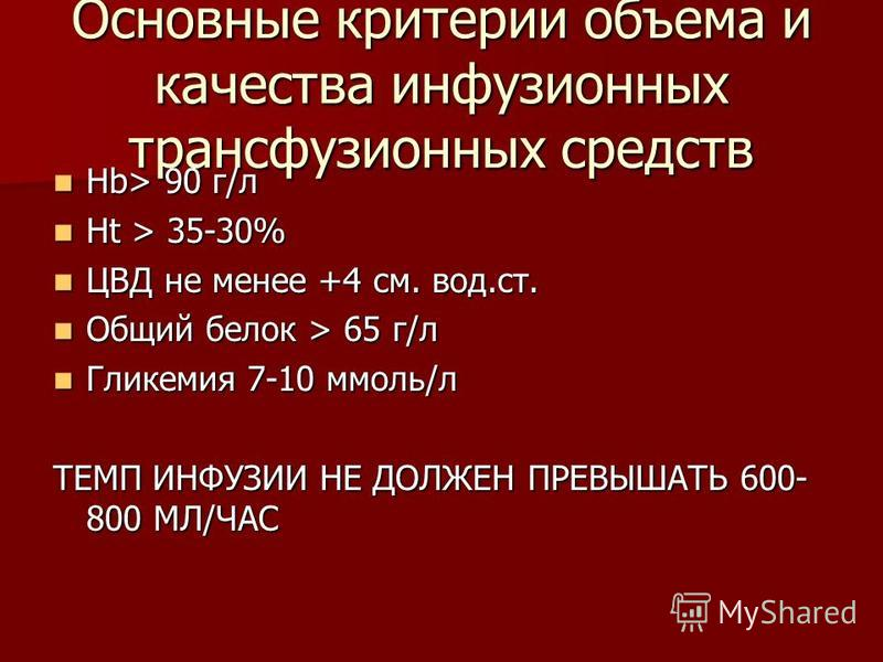 Основные критерии объема и качества инфузионных трансфузионных средств Нb> 90 г/л Нb> 90 г/л Ht > 35-30% Ht > 35-30% ЦВД не менее +4 см. вод.ст. ЦВД не менее +4 см. вод.ст. Общий белок > 65 г/л Общий белок > 65 г/л Гликемия 7-10 ммоль/л Гликемия 7-10