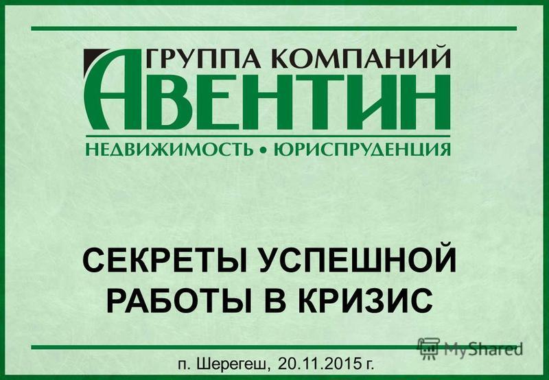 СЕКРЕТЫ УСПЕШНОЙ РАБОТЫ В КРИЗИС п. Шерегеш, 20.11.2015 г.