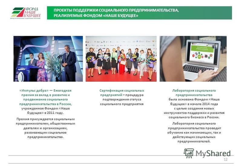 ПРОЕКТЫ ПОДДЕРЖКИ СОЦИАЛЬНОГО ПРЕДПРИНИМАТЕЛЬСТВА, РЕАЛИЗУЕМЫЕ ФОНДОМ «НАШЕ БУДУЩЕЕ» 12 «Импульс добра» Ежегодная премия за вклад в развитие и продвижение социального предпринимательства в России, учрежденная Фондом «Наше будущее» в 2011 году. Премия