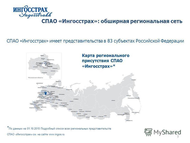 3 СПАО «Ингосстрах»: обширная региональная сеть СПАО «Ингосстрах» имеет представительства в 83 субъектах Российской Федерации Карта регионального присутствия СПАО «Ингосстрах»* * По данным на 01.10.2015 Подробный список всех региональных представител