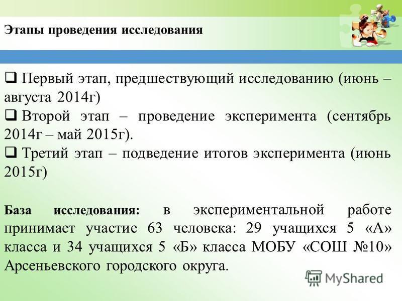 Этапы проведения исследования Первый этап, предшествующий исследованию (июнь – августа 2014 г) Второй этап – проведение эксперимента (сентябрь 2014 г – май 2015 г). Третий этап – подведение итогов эксперимента (июнь 2015 г) База исследования: в экспе