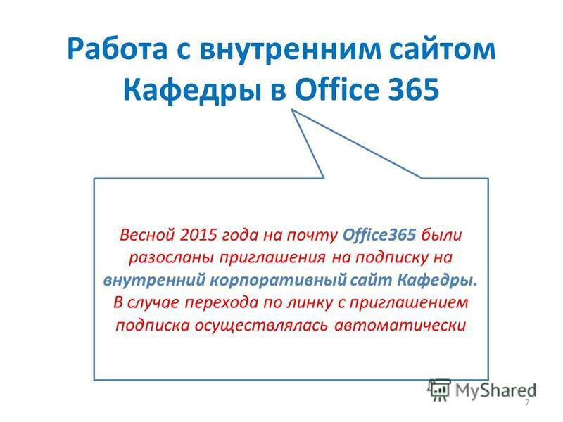 Работа с внутренним сайтом Кафедры в Office 365 Весной 2015 года на почту Office365 были разосланы приглашения на подписку на внутренний корпоративный сайт Кафедры. В случае перехода по линку с приглашением подписка осуществлялась автоматически 7