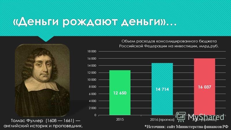«Деньги рождают деньги»… Томас Фуллер (1608 1661) английский историк и проповедник. *Источник: сайт Министерства финансов РФ