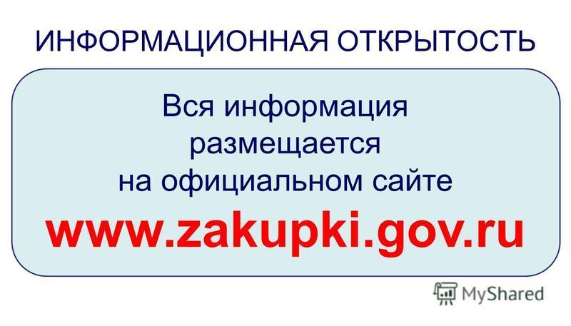 Вся информация размещается на официальном сайте www.zakupki.gov.ru ИНФОРМАЦИОННАЯ ОТКРЫТОСТЬ