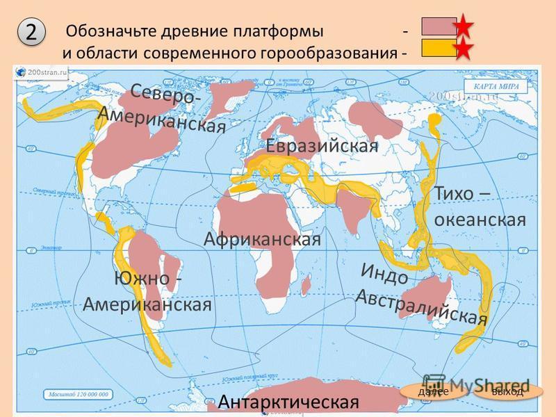 Обозначьте древние платформы - и области современного горообразования - Северо- Американская Евразийская Африканская Антарктическая Индо Австралийская Тихо – океанская Южно - Американская 2 2 выход далее