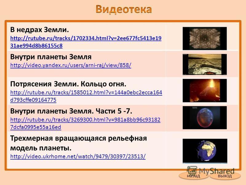 В недрах Земли. http://rutube.ru/tracks/1702334.html?v=2ee677fc5413e19 31ae994d8b86155c8 http://rutube.ru/tracks/1702334.html?v=2ee677fc5413e19 31ae994d8b86155c8 Внутри планеты Земля http://video.yandex.ru/users/arni-raj/view/858/ http://video.yandex