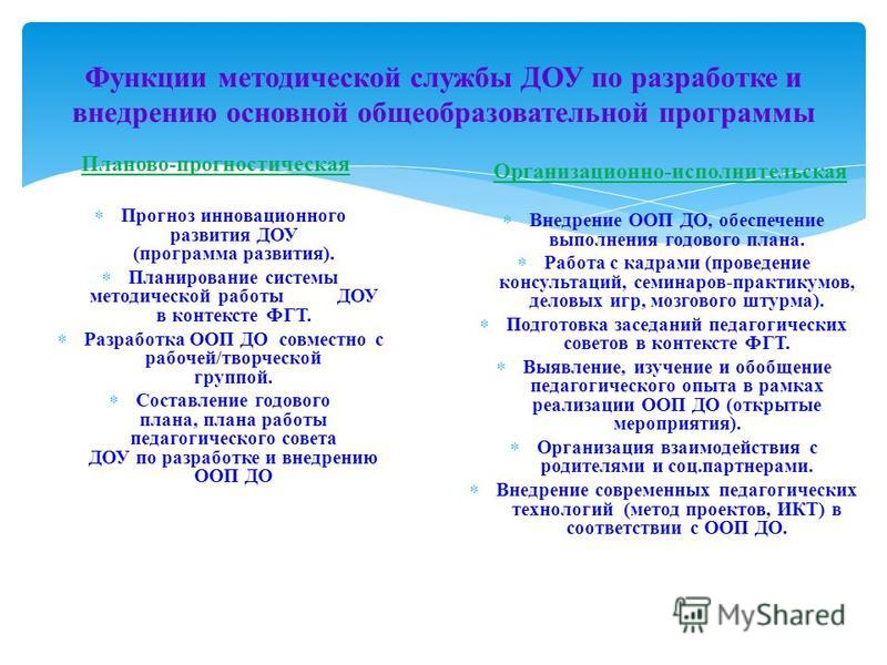 Функции методической службы ДОУ по разработке и внедрению основной общеобразовательной программы Планово-прогностическая Прогноз инновационного развития ДОУ (программа развития). Планирование системы методической работы ДОУ в контексте ФГТ. Разработк