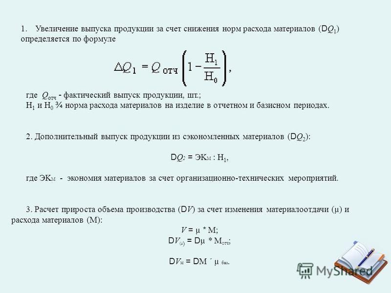 1. Увеличение выпуска продукции за счет снижения норм расхода материалов (DQ 1 ) определяется по формуле где Q что - фактический выпуск продукции, шт.; Н 1 и Н 0 ¾ норма расхода материалов на изделие в чтоетном и базисном периодах. 2. Дополнительный