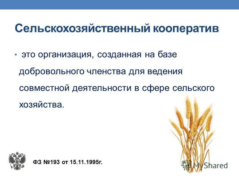 Сельскохозяйственный кооператив это организация, созданная на базе добровольного членства для ведения совместной деятельности в сфере сельского хозяйства. ФЗ 193 от 15.11.1995 г.