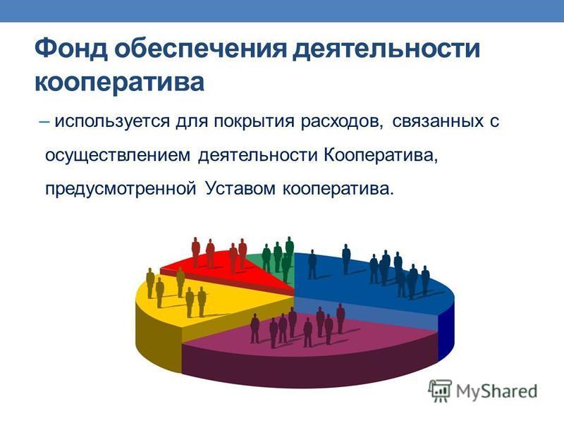 Фонд обеспечения деятельности кооператива – используется для покрытия расходов, связанных с осуществлением деятельности Кооператива, предусмотренной Уставом кооператива.