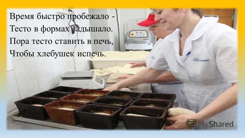 Время быстро пробежало - Тесто в формах задышало. Пора тесто ставить в печь, Чтобы хлебушек испечь.