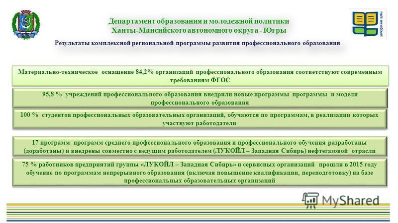 Результаты комплексной региональной программы развития профессионального образования Департамент образования и молодежной политики Ханты-Мансийского автономного округа - Югры Департамент образования и молодежной политики Ханты-Мансийского автономного