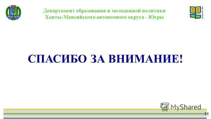 Департамент образования и молодежной политики Ханты-Мансийского автономного округа - Югры СПАСИБО ЗА ВНИМАНИЕ! 21