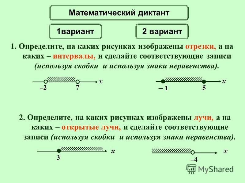1. Определите, на каких рисунках изображены отрезки, а на каких – интервалы, и сделайте соответствующие записи (используя скобки и используя знаки неравенства). –2–2 x 7 5 x – 1– 1 Математический диктант 2. Определите, на каких рисунках изображены лу