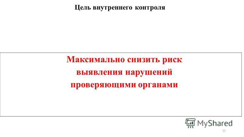 Цель внутреннего контроля Максимально снизить риск выявления нарушений проверяющими органами 11