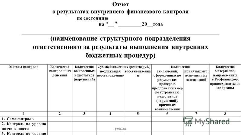 Отчет о результатах внутреннего финансового контроля по состоянию на