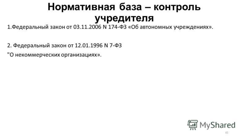 Нормативная база – контроль учредителя 1. Федеральный закон от 03.11.2006 N 174-ФЗ «Об автономных учреждениях». 2. Федеральный закон от 12.01.1996 N 7-ФЗ О некоммерческих организациях». 45