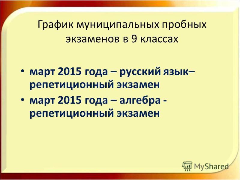 График муниципальных пробных экзаменов в 9 классах март 2015 года – русский язык– репетиционный экзамен март 2015 года – алгебра - репетиционный экзамен