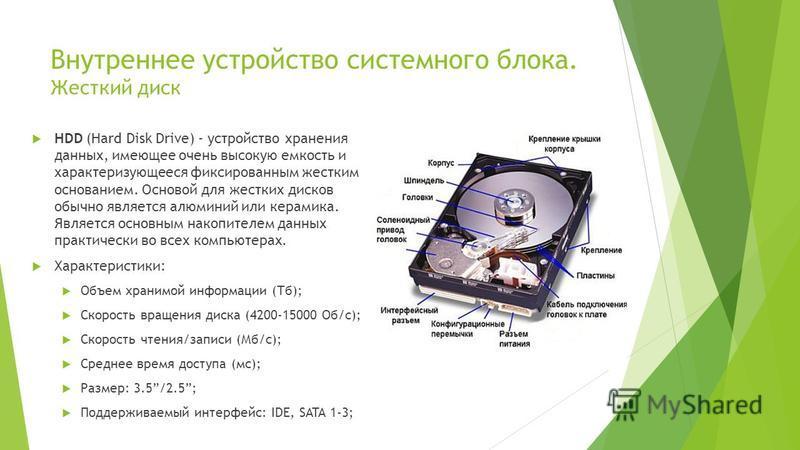 Внутреннее устройство системного блока. Жесткий диск HDD (Hard Disk Drive) - устройство хранения данных, имеющее очень высокую емкость и характеризующееся фиксированным жестким основанием. Основой для жестких дисков обычно является алюминий или керам