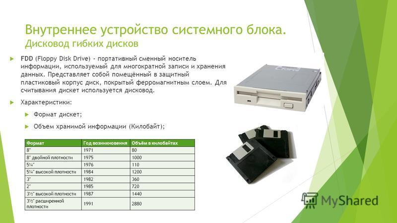 Внутреннее устройство системного блока. Дисковод гибких дисков FDD (Floppy Disk Drive) - портативный сменный носитель информации, используемый для многократной записи и хранения данных. Представляет собой помещённый в защитный пластиковый корпус диск