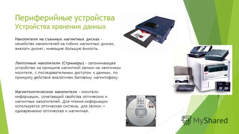 Периферийные устройства Устройства хранения данных Накопители на съемных магнитных дисках - семейство накопителей на гибких магнитных дисках, аналоги дискет, имеющие большую ёмкость. Ленточные накопители (Стримеры) - запоминающее устройство на принци