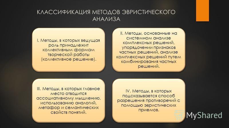 КЛАССИФИКАЦИЯ МЕТОДОВ ЭВРИСТИЧЕСКОГО АНАЛИЗА I. Методы, в которых ведущая роль принадлежит коллективным формам творческой работы (коллективное решение). II. Методы, основанные на системном анализе комплексных решений, упорядочении признаков частных р