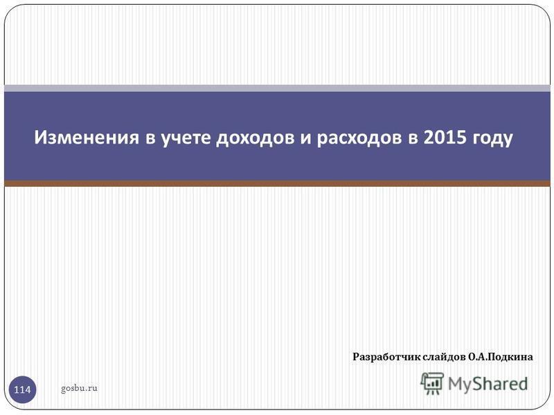 Разработчик слайдов О. А. Подкина 114 Изменения в учете доходов и расходов в 2015 году gosbu.ru
