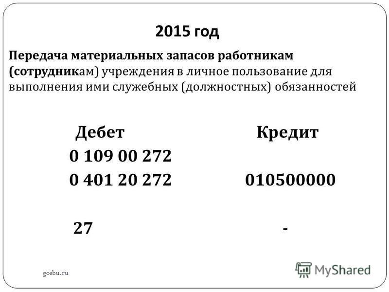 2015 год Передача материальных запасов работникам ( сотрудникам ) учреждения в личное пользование для выполнения ими служебных ( должностных ) обязанностей Дебет Кредит 0 109 00 272 0 401 20 272 010500000 27 - gosbu.ru
