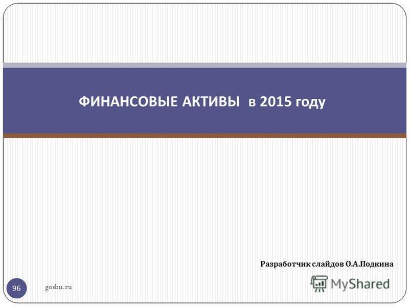 Разработчик слайдов О. А. Подкина 96 ФИНАНСОВЫЕ АКТИВЫ в 2015 году gosbu.ru