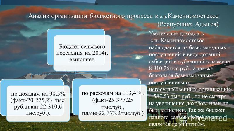 Бюджет сельского поселения на 2014 г. выполнен по доходам на 98,5% (факт.-20 275,23 тыс. руб.,план-22 310,6 тыс.руб.). по расходам на 113,4 %. (факт-25 377,25 тыс.руб., плане-22 373,2 тыс.руб.) Анализ организации бюджетного процесса в с.п.Каменномост