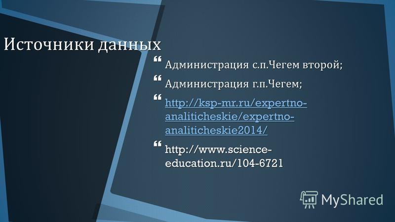 Источники данных Администрация с. п. Чегем второй ; Администрация с. п. Чегем второй ; Администрация г. п. Чегем ; Администрация г. п. Чегем ; http://ksp-mr.ru/expertno- analiticheskie/expertno- analiticheskie2014/ http://ksp-mr.ru/expertno- analitic