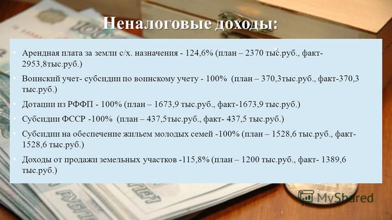 Арендная плата за земли с/х. назначения - 124,6% (план – 2370 тыс.руб., факт- 2953,8 тыс.руб.) Воинский учет- субсидии по воинскому учету - 100% (план – 370,3 тыс.руб., факт-370,3 тыс.руб.) Дотации из РФФП - 100% (план – 1673,9 тыс.руб., факт-1673,9