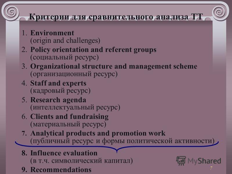 7 Критерии для сравнительного анализа ТТ 1. Environment (origin and challenges) 2. Policy orientation and referent groups (социальный ресурс) 3. Organizational structure and management scheme (организационный ресурс) 4. Staff and experts (кадровый ре