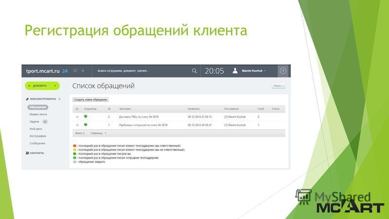 Регистрация обращений клиента