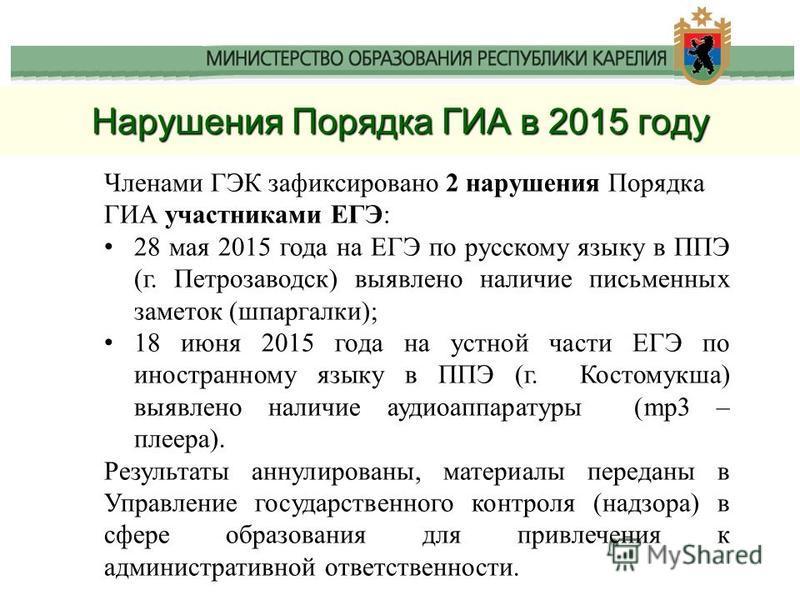 Членами ГЭК зафиксировано 2 нарушения Порядка ГИА участниками ЕГЭ: 28 мая 2015 года на ЕГЭ по русскому языку в ППЭ (г. Петрозаводск) выявлено наличие письменных заметок (шпаргалки); 18 июня 2015 года на устной части ЕГЭ по иностранному языку в ППЭ (г
