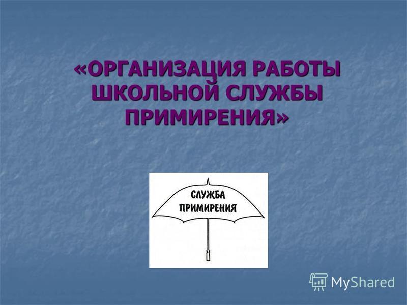 «ОРГАНИЗАЦИЯ РАБОТЫ ШКОЛЬНОЙ СЛУЖБЫ ПРИМИРЕНИЯ»