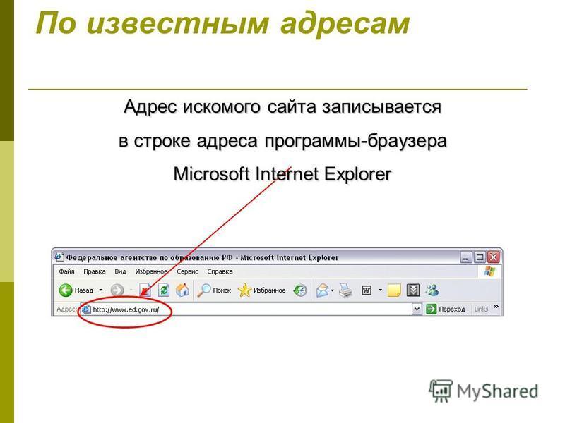 По известным адресам Адрес искомого сайта записывается в строке адреса программы-браузера Microsoft Internet Explorer