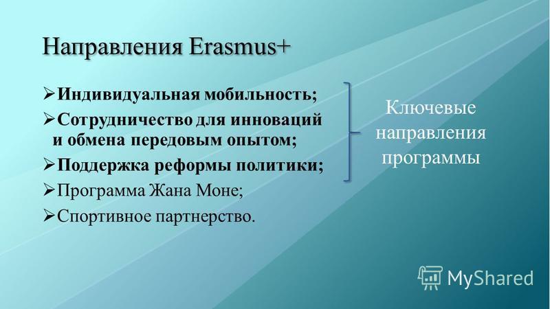 Направления Erasmus+ Индивидуальная мобильность; Сотрудничество для инноваций и обмена передовым опытом; Поддержка реформы политики; Программа Жана Моне; Спортивное партнерство. Ключевые направления программы