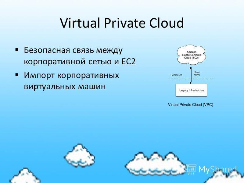 Virtual Private Cloud Безопасная связь между корпоративной сетью и EC2 Импорт корпоративных виртуальных машин 15