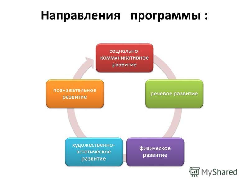 Направления программы : социально- коммуникативное развитие речевое развитие физическое развитие художественно- эстетическое развитие познавательное развитие
