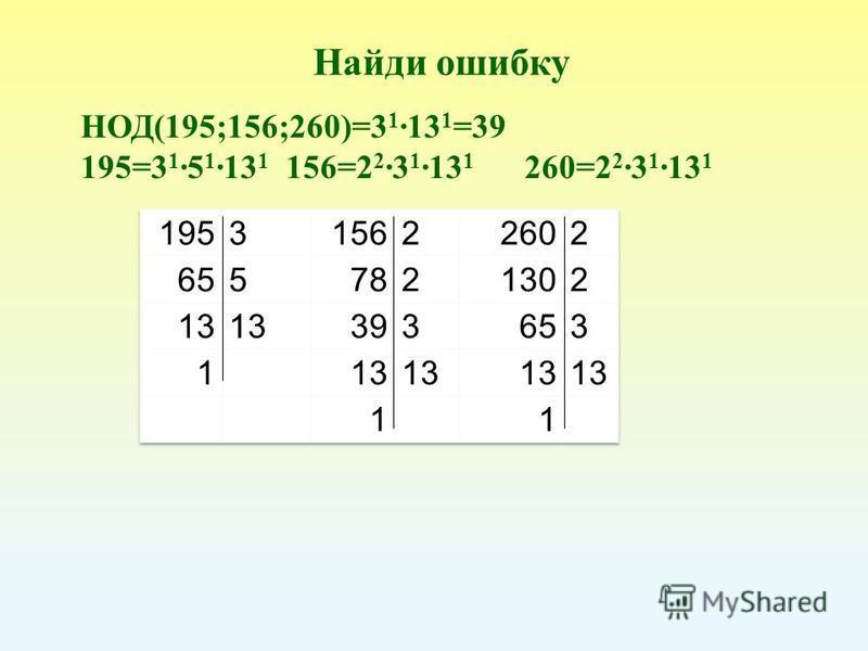 НОД(195;156;260)=3 1 13 1 =39 195=3 1 5 1 13 1 156=2 2 3 1 13 1 260=2 2 3 1 13 1 Найди ошибку