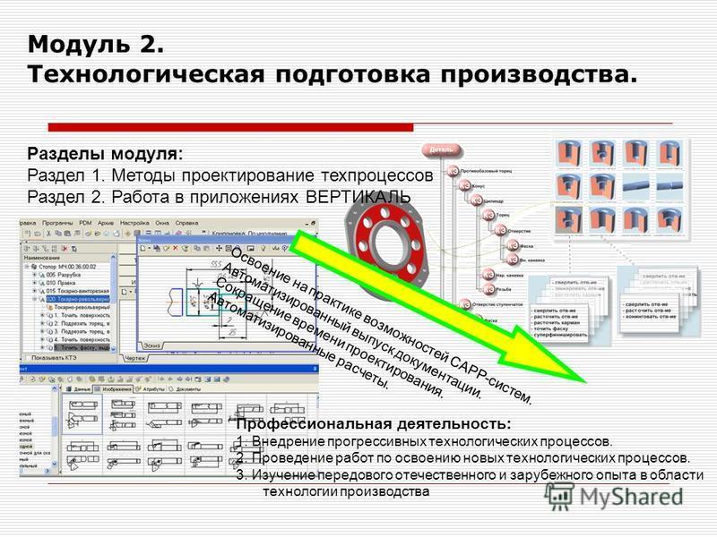 Модуль 2. Технологическая подготовка производства. Разделы модуля: Раздел 1. Методы проектирование техпроцессов Раздел 2. Работа в приложениях ВЕРТИКАЛЬ Профессиональная деятельность: 1. Внедрение прогрессивных технологических процессов. 2. Проведени