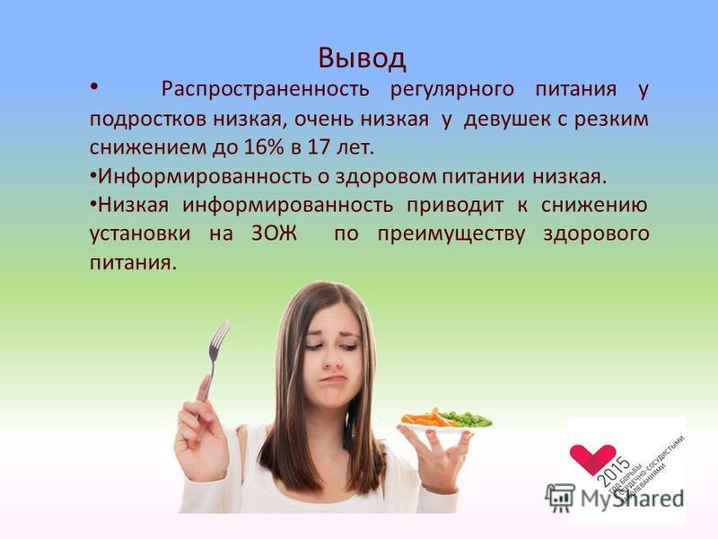 Вывод Распространенность регулярного питания у подростков низкая, очень низкая у девушек с резким снижением до 16% в 17 лет. Информированность о здоровом питании низкая. Низкая информированность приводит к снижению установки на ЗОЖ по преимуществу зд