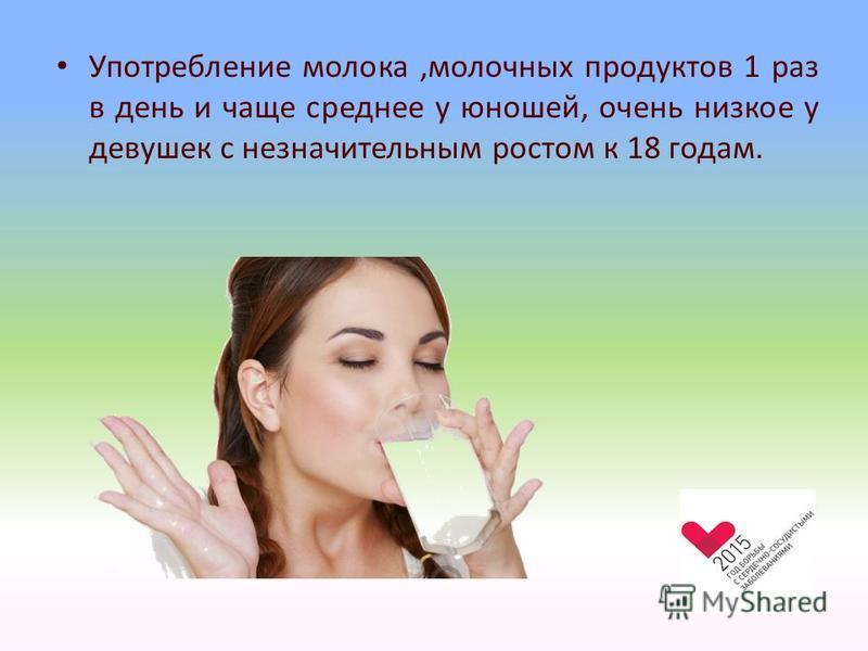 Употребление молока,молочных продуктов 1 раз в день и чаще среднее у юношей, очень низкое у девушек с незначительным ростом к 18 годам.