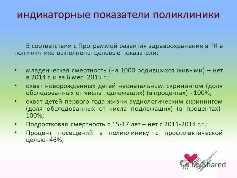 индикаторные показатели поликлиники В соответствии с Программой развития здравоохранения в РК в поликлинике выполнены целевые показатели: младенческая смертность (на 1000 родившихся живыми) – нет в 2014 г. и за 6 мес. 2015 г.; охват новорожденных дет